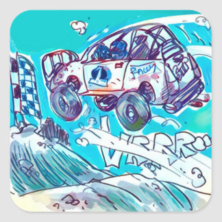 rally car flying high cartoon style illustration square sticker