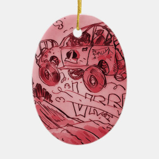rally car flying high red ceramic oval ornament