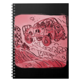 rally car flying high red spiral notebooks