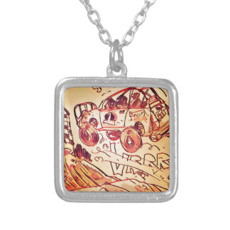 rally car flying high ver2 silver plated necklace
