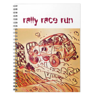 rally car flying high ver2 spiral notebooks
