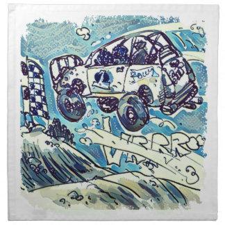 rally car is flying high cartoon printed napkins