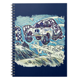 rally car is flying high cartoon spiral notebooks