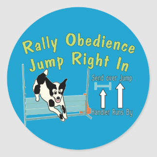 Rally Obedience Jump In Classic Round Sticker
