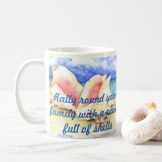 Rally Round Your Family Sea Shell Watercolor Art Coffee Mug
