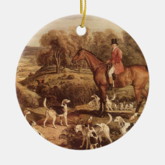 Ralph Lambton and his Hounds by James Ward Round Ceramic Ornament