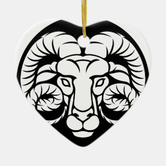 Ram Aries Zodiac Sign Ceramic Ornament