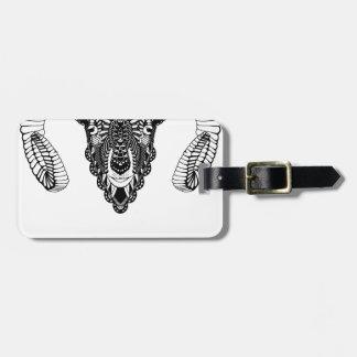 Ram drawing mandala style luggage tag