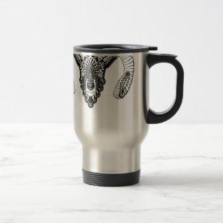 Ram drawing mandala style travel mug