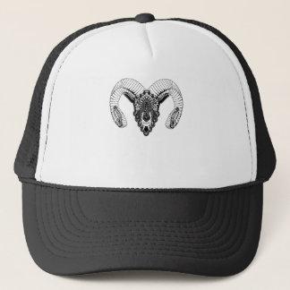 Ram drawing mandala style trucker hat