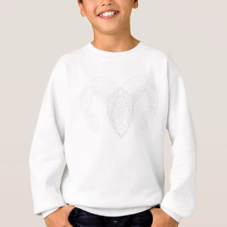 Ram drawing mandala style white sweatshirt
