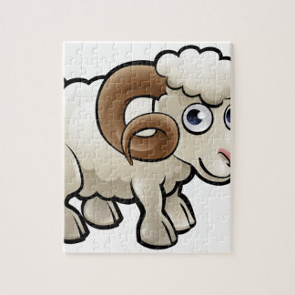 Ram Farm Animals Cartoon Character Jigsaw Puzzle