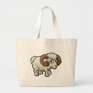 Ram Farm Animals Cartoon Character Large Tote Bag