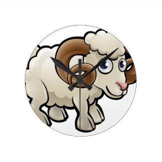 Ram Farm Animals Cartoon Character Round Clock
