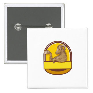 Ram Goat Drinking Coffee Crest Drawing 2 Inch Square Button