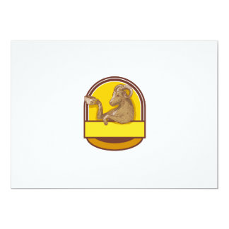 Ram Goat Drinking Coffee Crest Drawing Card