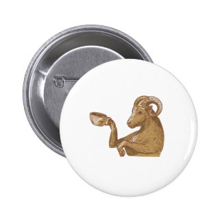 Ram Goat Drinking Coffee Drawing 2 Inch Round Button