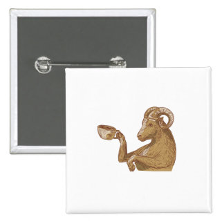 Ram Goat Drinking Coffee Drawing 2 Inch Square Button