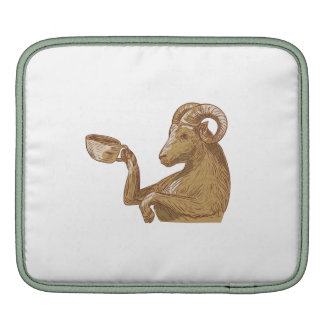 Ram Goat Drinking Coffee Drawing Sleeve For iPads