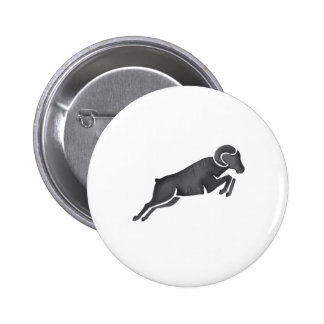 Ram Goat Silhouette Jumping Watercolor 2 Inch Round Button