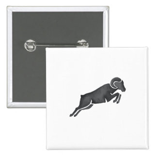 Ram Goat Silhouette Jumping Watercolor 2 Inch Square Button