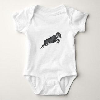 Ram Goat Silhouette Jumping Watercolor Baby Bodysuit