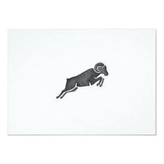 Ram Goat Silhouette Jumping Watercolor Card