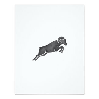 Ram Goat Silhouette Jumping Watercolor Card