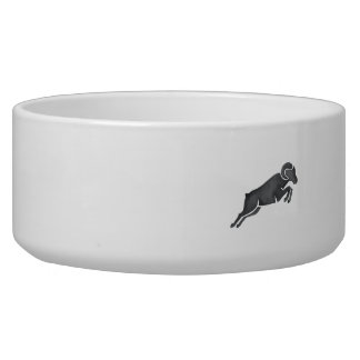 Ram Goat Silhouette Jumping Watercolor Dog Bowls
