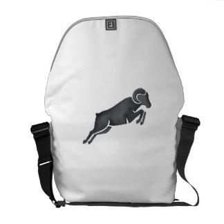 Ram Goat Silhouette Jumping Watercolor Messenger Bags