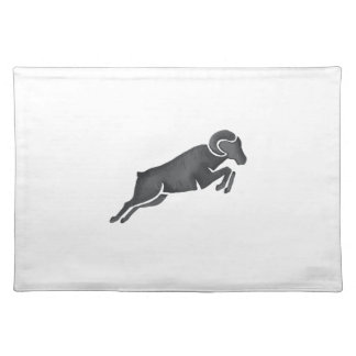 Ram Goat Silhouette Jumping Watercolor Placemat