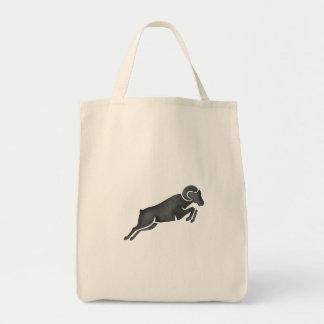 Ram Goat Silhouette Jumping Watercolor Tote Bag