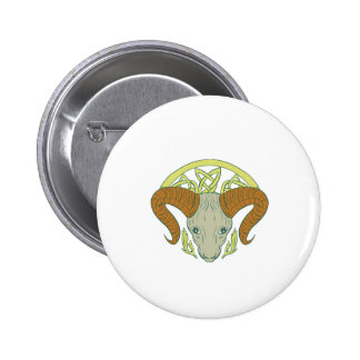 Ram Head Celtic Knot 2 Inch Round Button
