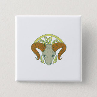 Ram Head Celtic Knot 2 Inch Square Button
