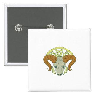 Ram Head Celtic Knot 2 Inch Square Button