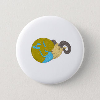 Ram Head Middle East Globe Drawing 2 Inch Round Button