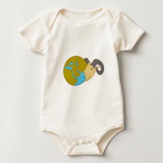 Ram Head Middle East Globe Drawing Baby Bodysuit