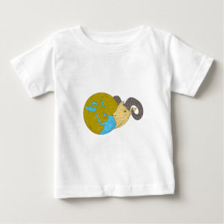 Ram Head Middle East Globe Drawing Baby T-Shirt