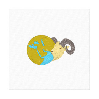 Ram Head Middle East Globe Drawing Canvas Print