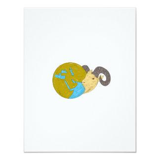 Ram Head Middle East Globe Drawing Card