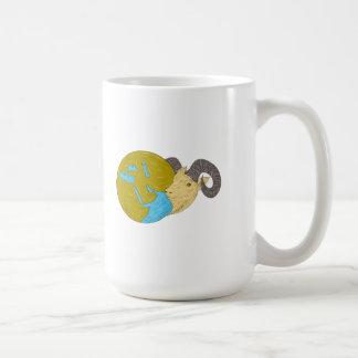 Ram Head Middle East Globe Drawing Coffee Mug