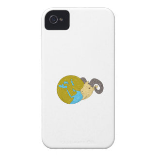 Ram Head Middle East Globe Drawing iPhone 4 Case