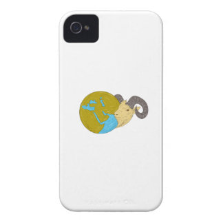 Ram Head Middle East Globe Drawing iPhone 4 Cover