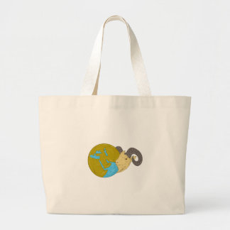 Ram Head Middle East Globe Drawing Large Tote Bag