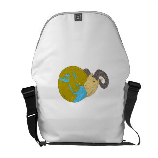 Ram Head Middle East Globe Drawing Messenger Bags