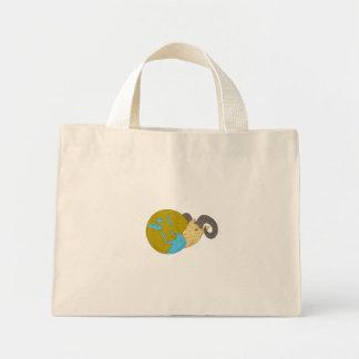Ram Head Middle East Globe Drawing Mini Tote Bag