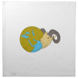 Ram Head Middle East Globe Drawing Napkin