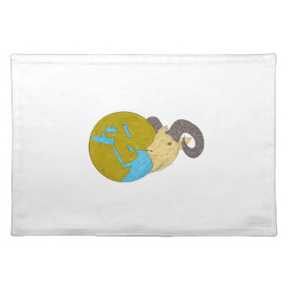 Ram Head Middle East Globe Drawing Placemat