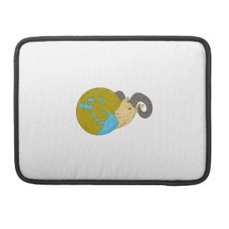 Ram Head Middle East Globe Drawing Sleeve For MacBooks