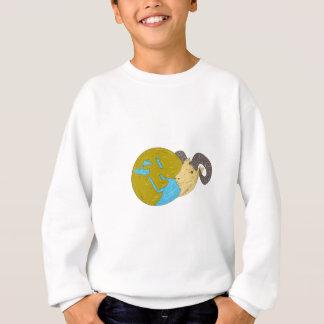 Ram Head Middle East Globe Drawing Sweatshirt